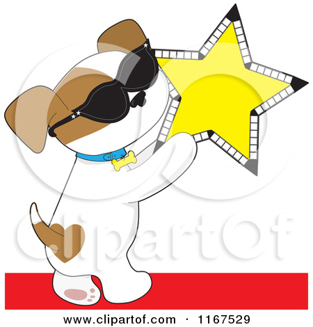 1167529-Cartoon-Of-A-Famous-Puppy-Wearing-Sunglasses-And-Holding-A-Cinema-Star-Royalty-Free-Vector-Clipart